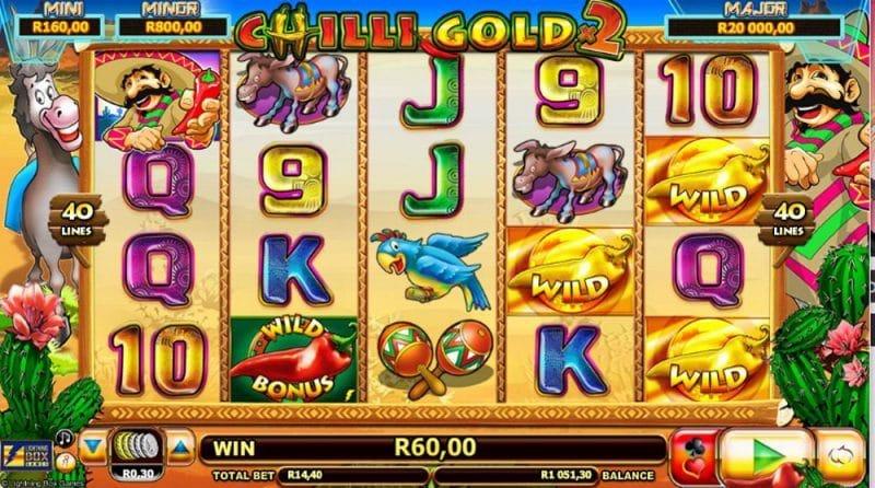 Chilli Gold 2 grafički interfejs igre