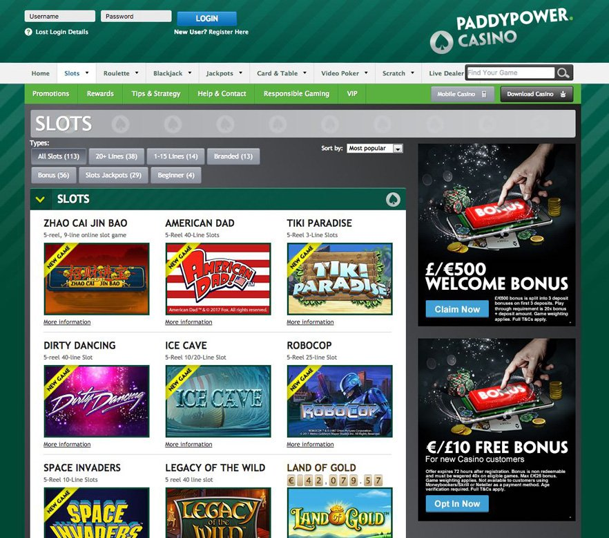 Paddy Power kazino slot igre