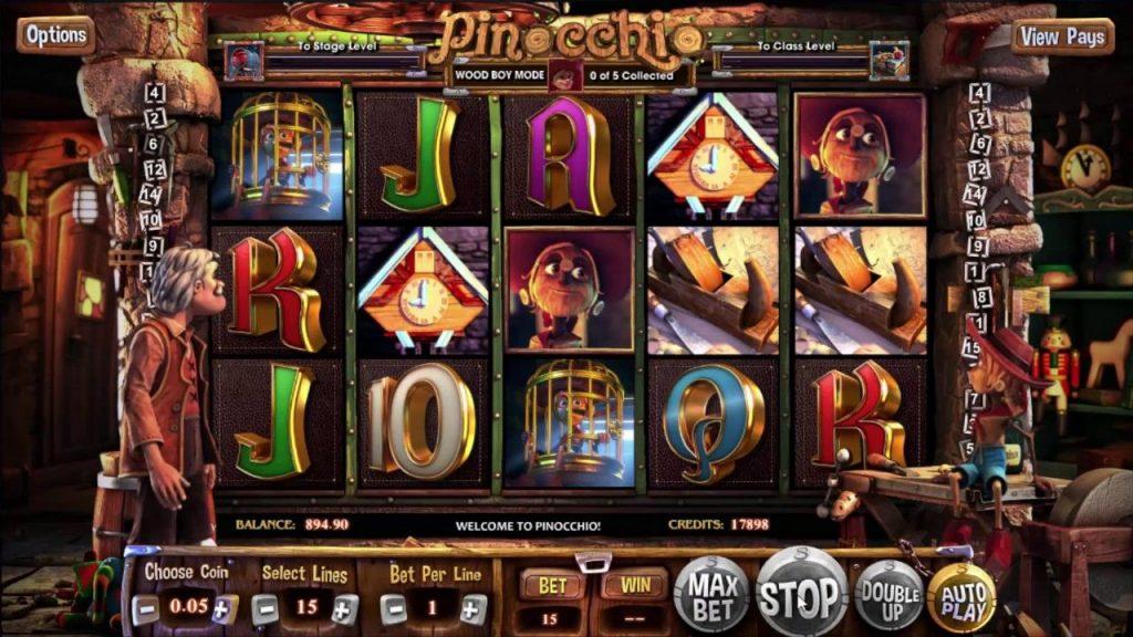 Pinokio (Pinocchio) grafički interfejs igre