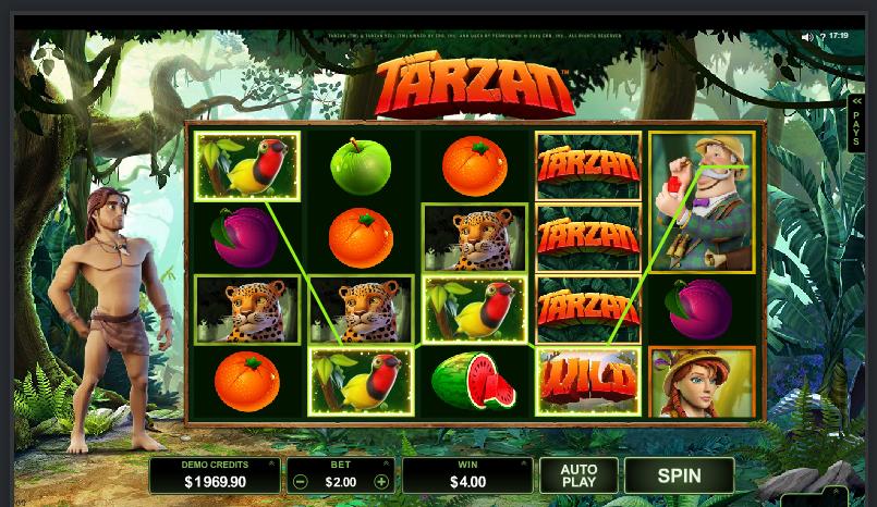 Tarzan grafički interfejs slot igre